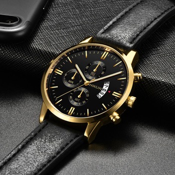 2020 Luxury Mens Watch Fashion Sport Wrist Watch Alloy Case Leather Band Watch Quartz Business Wristwatch calendar Clock 2