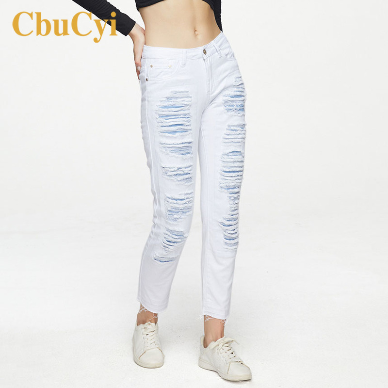 Plus Size Boyfriend Jeans For Women Loose Straight Hole Ripped Denim Pants Trousers Women White Bleached Pure Cotton Denim Jeans