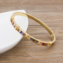 Fashion Jewelry Bangle Bracelets Copper Cubic Zirconia Crystal Rhinestone Cuff Bangle For Female Luxulry Accessories Gift