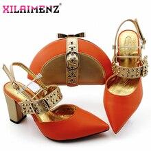 عالية الجودة 2019 Atumn وصول خاص البرتقال مطابقة الأحذية و مجموعة الحقائب في الكعب مطابقة الأحذية و مجموعة الحقائب للحزب
