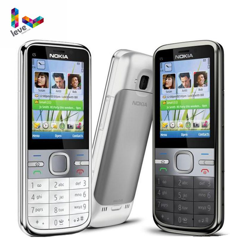 <font><b>Nokia</b></font> C5 Original <font><b>Nokia</b></font> C5-00 C5-00i 3.15&<font><b>5MP</b></font> Bluetooth Support Russian&Hebrew&Arabic Keyboard Refurbished Unlocked Mobile <font><b>Phone</b></font> image