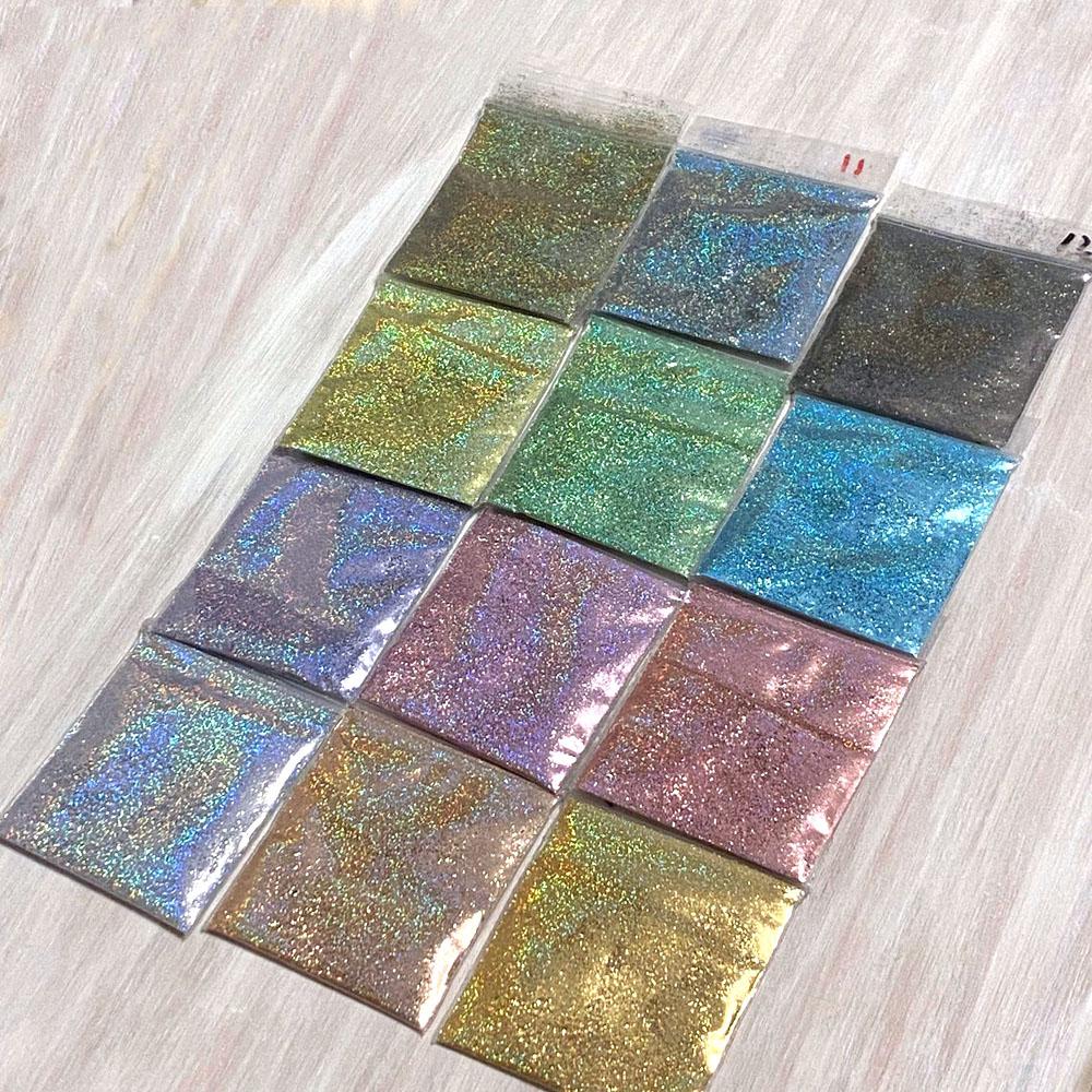 1Kg/Pack 1/128(0.2mm) Nail Glitter Powder High-Quality Shining Laser Nail Art Dust 18 Color Chrome Ultra-Fine Holo Powder Te#54