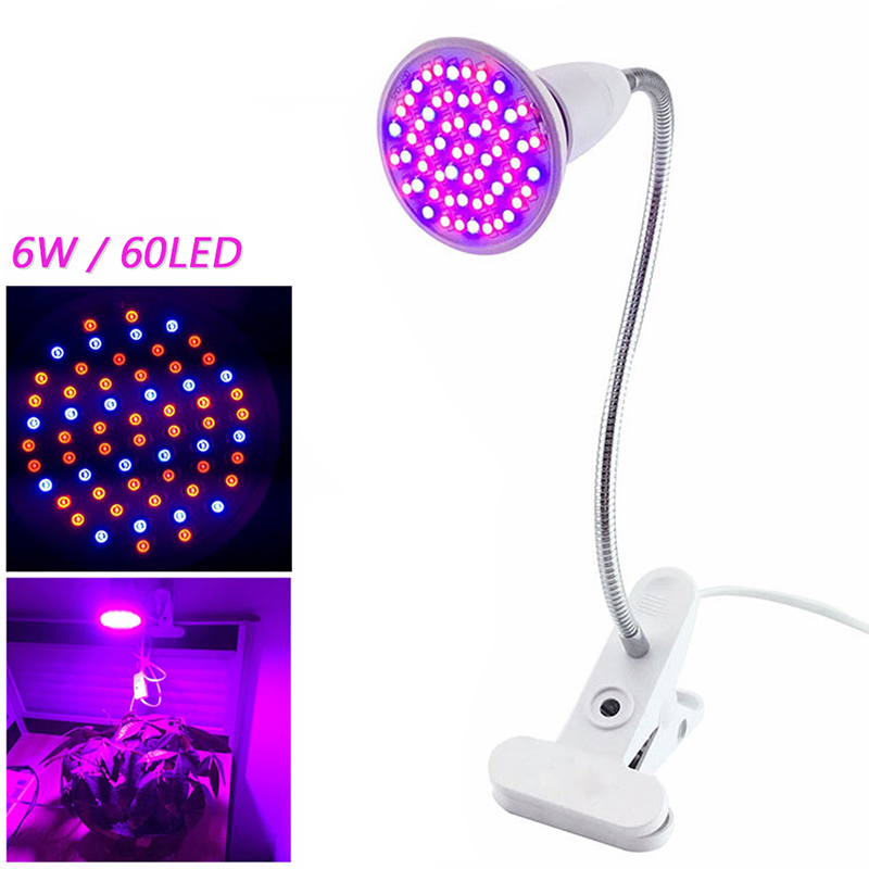Dozzlor Phyto лампа полный спектр светодиодный светильник для выращивания E27 лампа для растений фитолампа для комнатных саженцев цветок фитолампия для выращивания палаток - Испускаемый цвет: US Lamp with holder