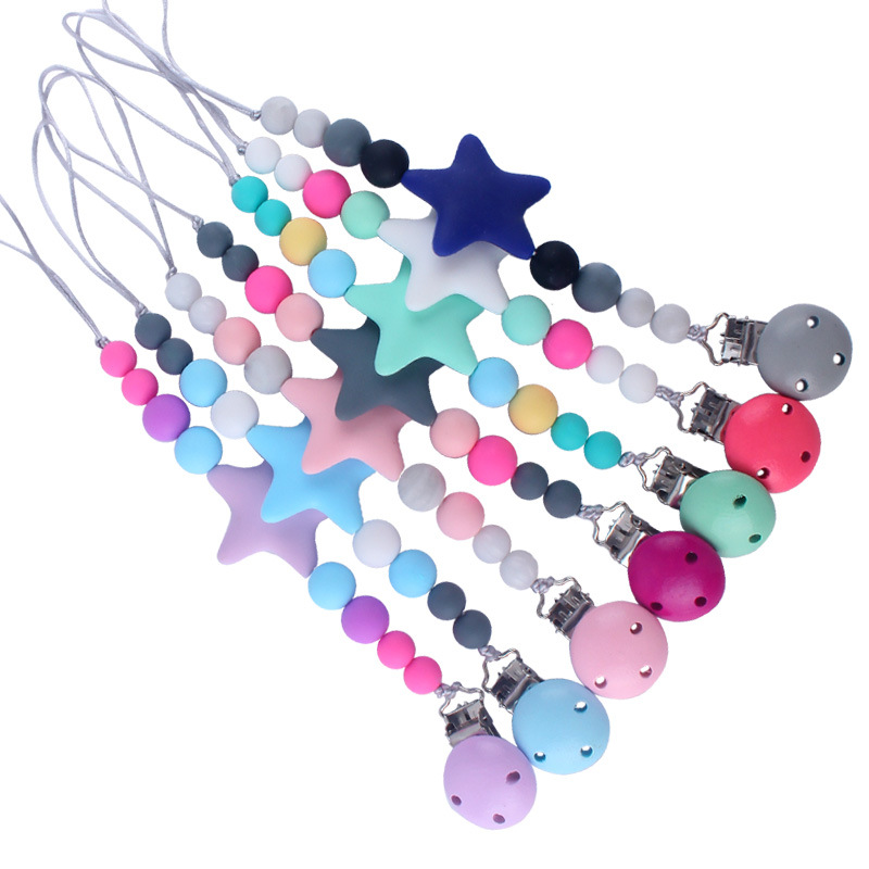 2020 Hot Sale New Baby Silicone Pacifier Chain Silicone Loose Beads Cartoon Five-pointed Star Toddler Baby Pacifier Clip