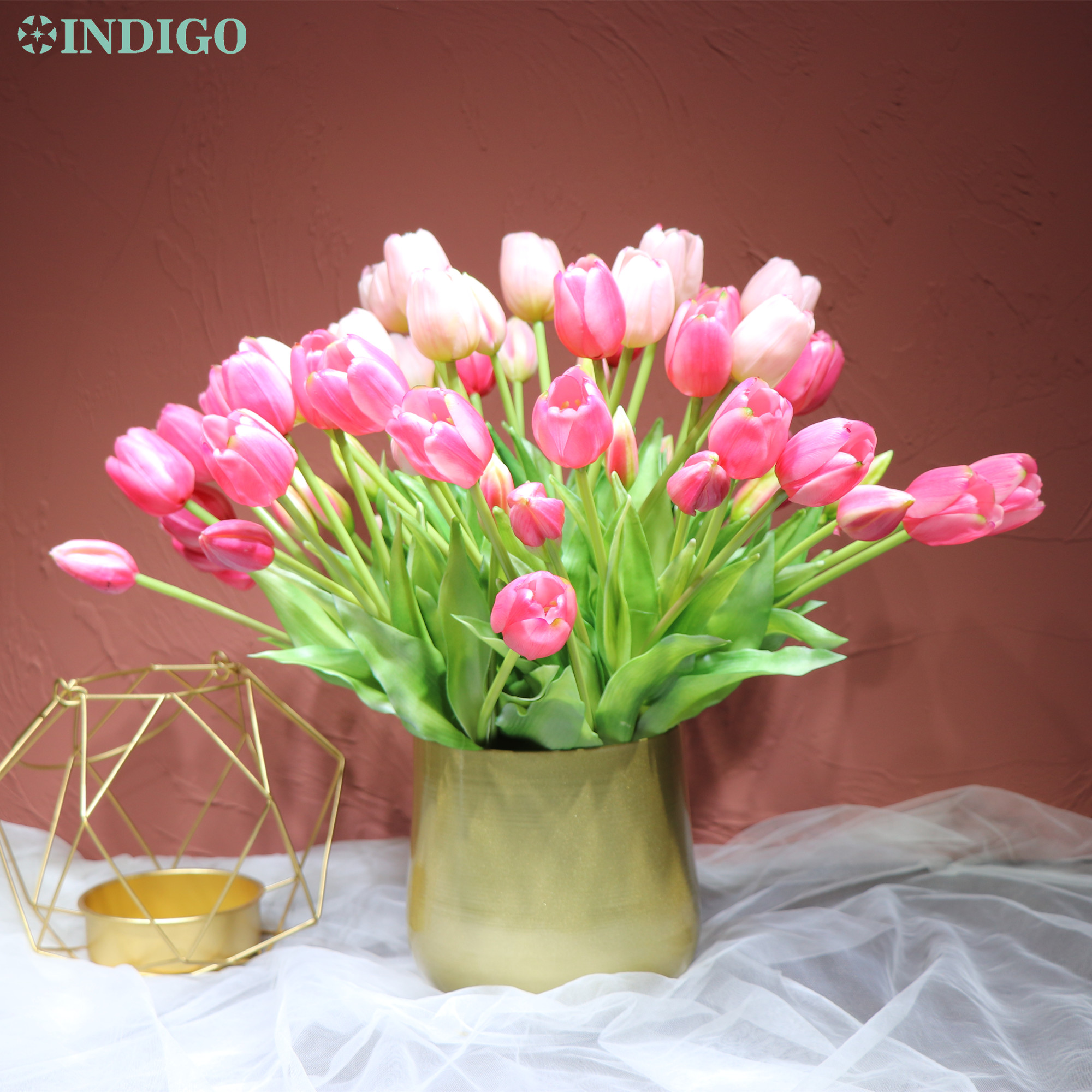 INDIGO-(3 flowers+2 bud)Bouquet Real Touch Silicone Tulip High Quality Yellow Tulip Home Artificial Flower Wedding DropShipping-3