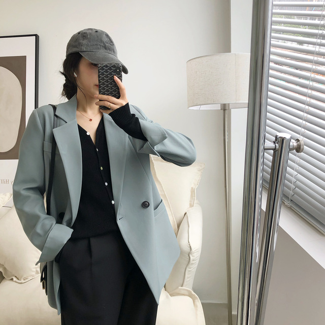 Automne couleur unie élégant bleu Blazer femmes veste femmes Style coréen lâche col en v à manches longues Cardigan 5