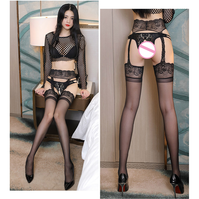 Sexy Stockings Women Lingerie Open Crotch Thigh High Stockings Nightwear Sexy Temptation Lace Top Garter Pantyhose Intimates