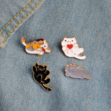 Japanese Neko Atsume Game Heart Cat Police Cat Enamel Pin Cat Lapel Pin For Jackets and Backpacks Cat Lover Jewelry(China)