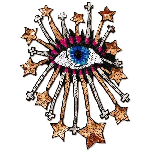 Parche de lentejuelas para bordado de ojos, insignias en la mochila, suministros de costura al por mayor, planchado para insignias de ropa 1