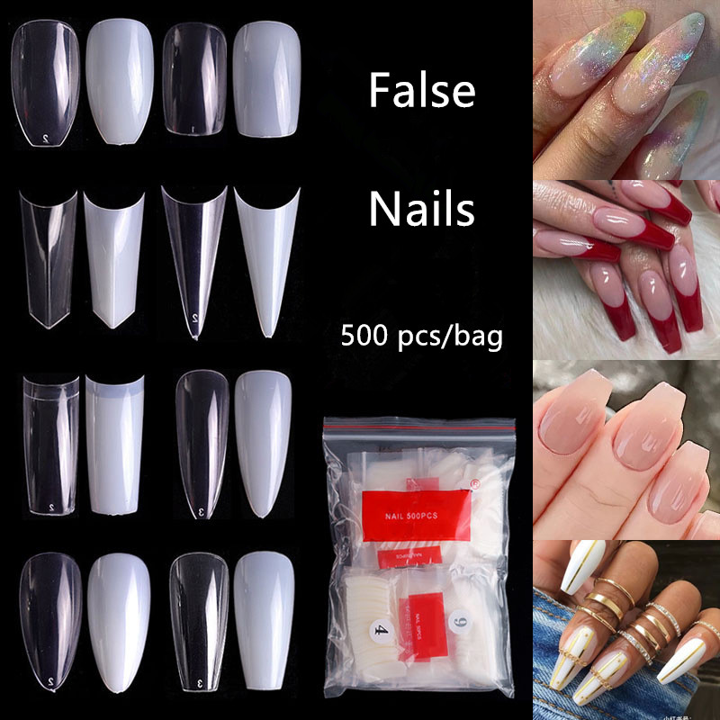 500pcs False nail tips with 10 sizes Nail Art French Acrylic False Nails Natural Transparent UV Gel Nail Polish Manicure