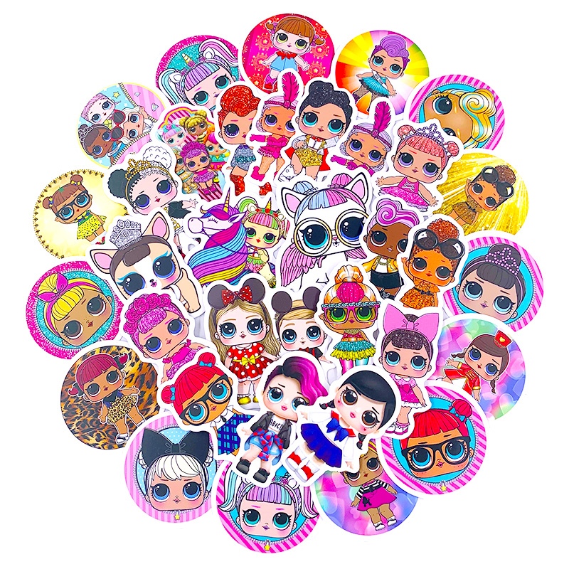 50pcs Personality Stickers Children's PVC Graffiti Doll Stickers Suitcase Boot Guitar Car Waterproof