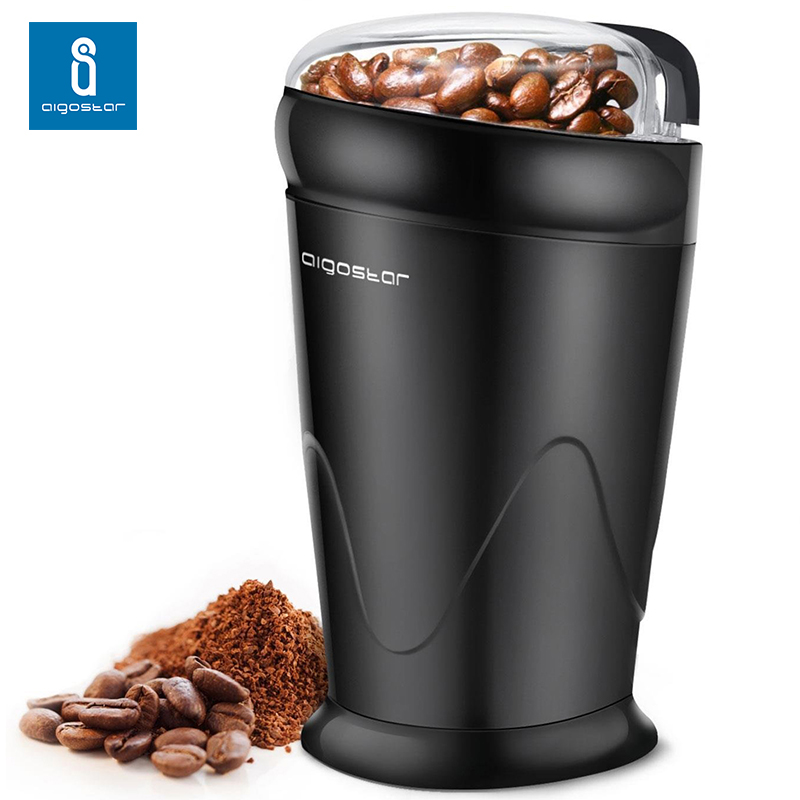 Aigostar Breath 30CFR-coffee Grinder Electric Double Contact. Grinder Coffee Beans, Spices, 150 Watt, BPA Free, Black.