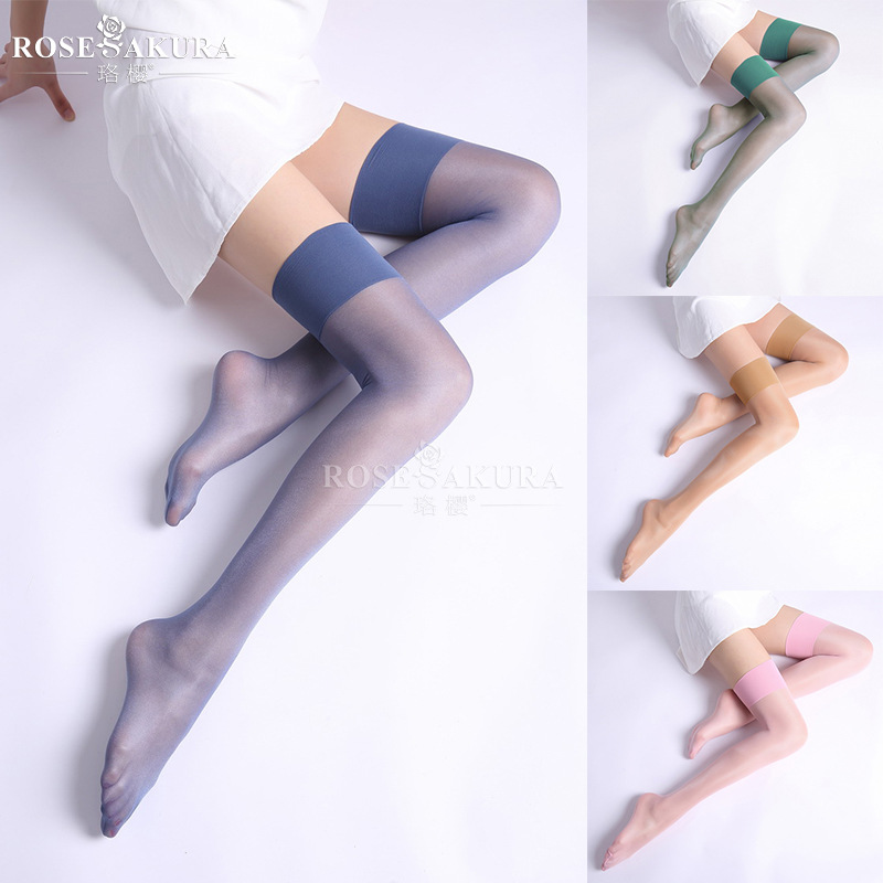 2pairs 12D Women Over The Knee Transparent Long Stocking Sexy Wide Adge Thigh High Shinny Silk Stockings White Overknee Ladies