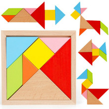 7 Shapes Children Educational Toy Colorful Wooden Puzzle Tangram Building Blocks Puzzles For Kids Toys