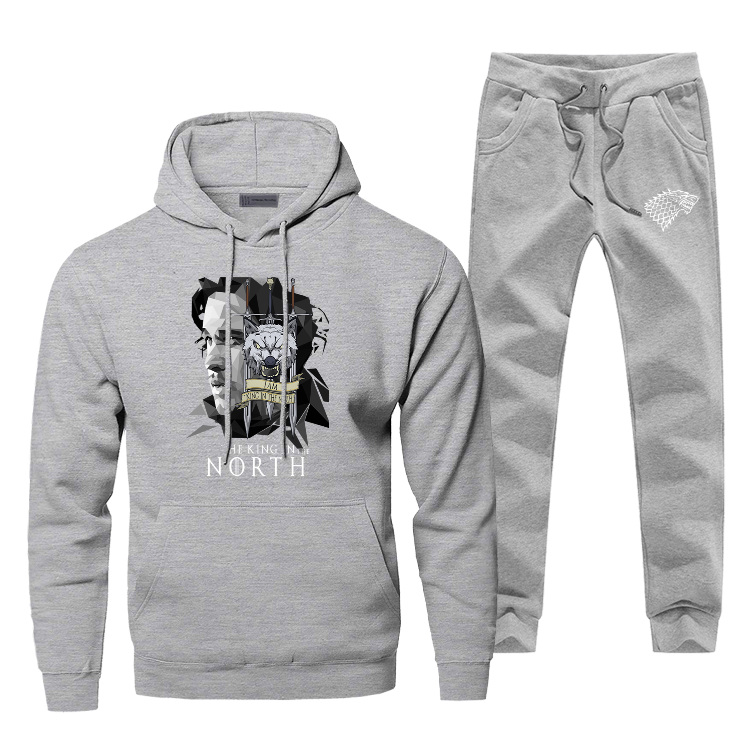 Game Of Thrones Gray Men's Full Suit Tracksuit The King In The North Fashion Casual Pants Sweatshirt TV Show Warm Sportsman Wear