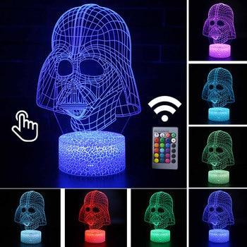 Star Wars Darth Vader Anime Figure Acrylic 3D Illusion LED Lamp Colourful NightLight Death Star Mask Yoda Model Toys Child Gift 14