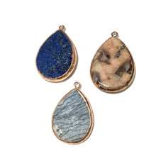 New Water Drop Druzy Stone Pendant Natural Stone Necklace Pendants Charms Natural Stone Pendant for Jewelry Making 45x30mm цена 2017