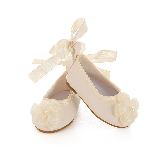 Dance shoes golden and white leather PU doll shoes with flower and mini Embroidery belt for 18 inches american doll   american doll