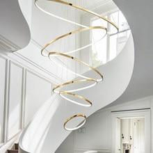 Gold Chandelier for Living room big house hotel loft lamp Modern Led Round Indoor Lighting Design Creative Lustre