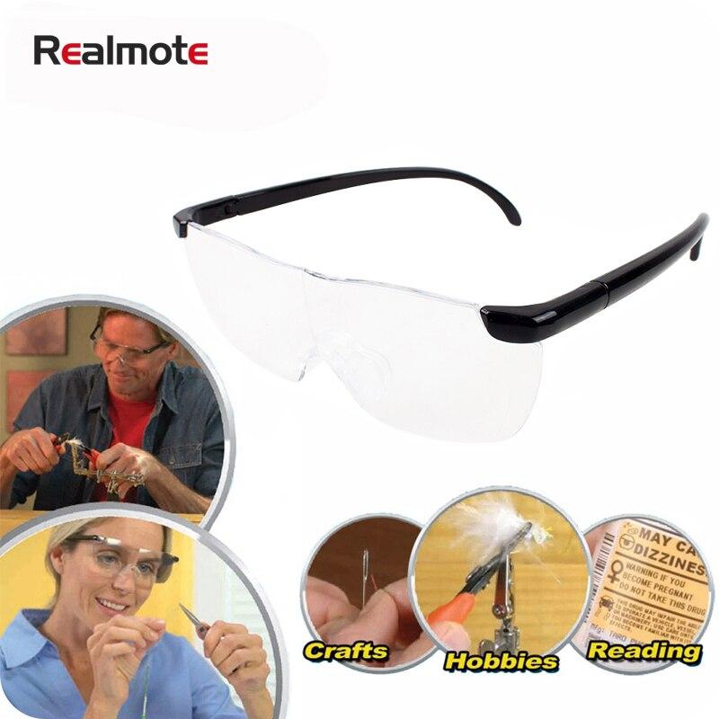 Realmote 250 학위 머리띠 플라스틱 돋보기 안경 1.6x 안경 Presbyopic 큰 독서 용
