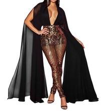Elegant Celebrity Evening Sequin Jumpsuit Women Deep V-Neck Patchwork Long Sleeve Mesh Sheer Romper Club Sparkly Female Overalls sheer mesh contrast sequin romper