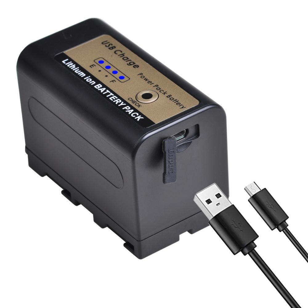 PowerTrust NP-<font><b>F750</b></font> NP-F770 <font><b>F750</b></font> <font><b>Battery</b></font> with 4 LED Light USB Cable for Sony NP F960 F970 NP-F770 F550 CCD-TRV58 TRV110K V1J z1 image