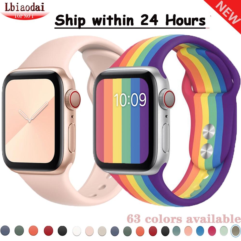 Ремешок для apple watch 38 мм 42 мм iwatch band 44 мм 40 мм спортивный силиконовый ремень для браслета apple watch 5 4 3 2 Аксессуары 42