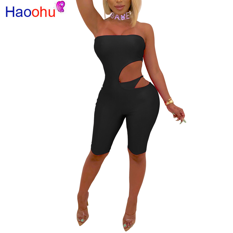 2019 women summer solid strapless cut out waist knee length sexy   jumpsuit   bodycon club overall romper playsuit 4color GLLD9026