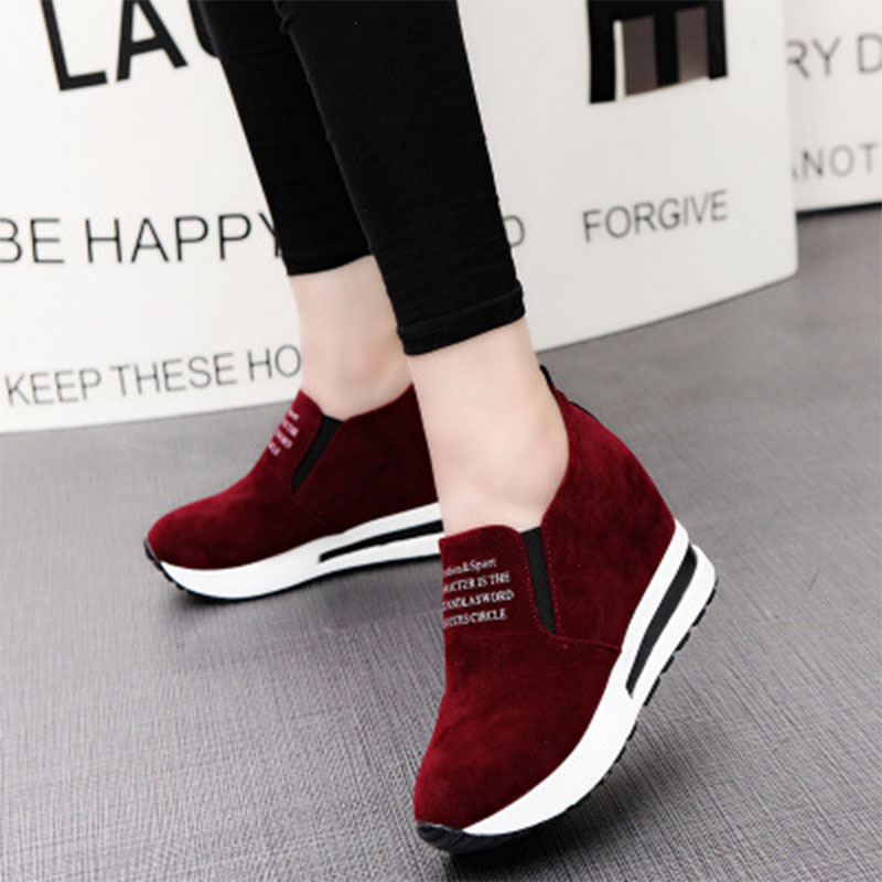 2020 Flock New High Heel Lady Casual Black/Red Women Sneakers Leisure Platform Shoes Breathable Height Increasing Shoes