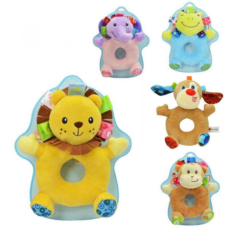 Baby Animal Rattle Round Rattle Baby Stroller Accessories Baby Plush Doll Pendant Newborn Baby Baby Rattle Plush Toy