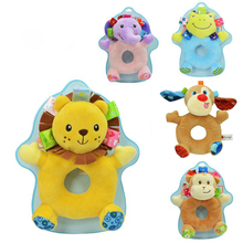 Baby Animal Rattle Round Stroller Accessories Plush Doll Pendant Newborn Toy