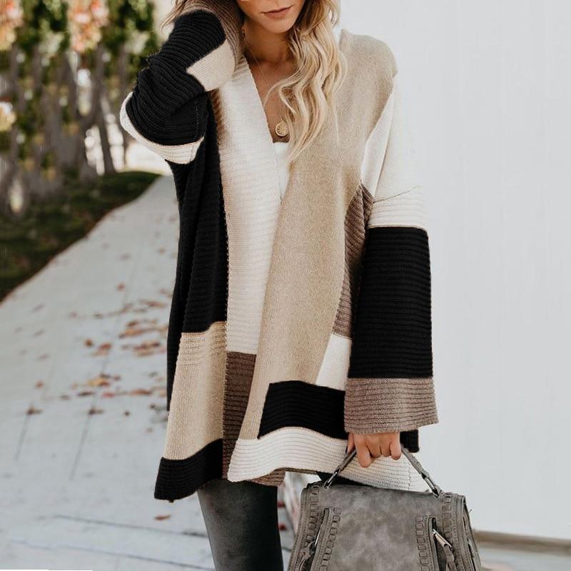2020 Women knitted cardigan geometric stitching vintage long women sweater warm autumn winter loose cardigan coat female DR2246 (30)