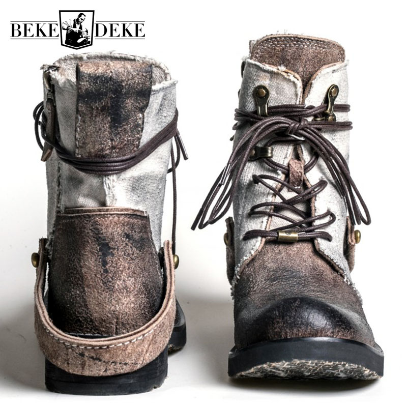 Top Quality Designer Vintage Cowhide Mens Ankle Boots Canvas Patchwork Genuine Leather Lace Up Breathable Casual Cargo Boots