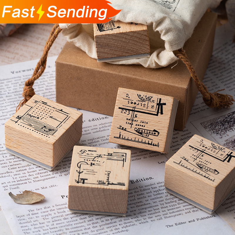 JIANWU 1pc Vintage Cloth Bag Wood Stamp DIY Wooden Rubber Stamps For Scrapbooking DIY Bullet Journal Standard Stamp Planner