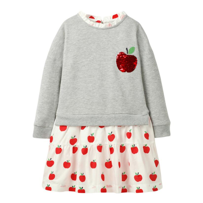 Little Maven Girls Brand Spring Autumn Baby Girl Clothes Cotton Fruit Sequined Toddler Girl Dresses for Kids 2-7 Years S0823 3