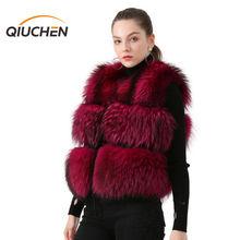 QIUCHEN PJ8051 2020 Hot Sale Model Fashion Short Vest Women Vest in Winter 100% Natural Raccoon Furs Real Fur