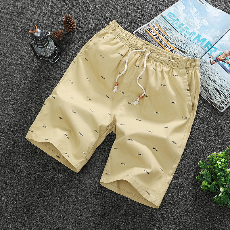 2019 New Style Summer Sports Trend MEN'S Beach Shorts Fish Bones Short Shorts Pure Cotton Shorts K77
