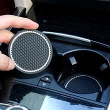 Alfombrilla antideslizante con diamantes de imitación para botella de agua de coche, almohadilla antideslizante de Gel de sílice para Mini Cooper, accesorios de Interior de coche