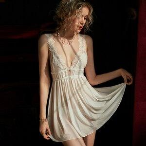 Image 1 - Women Sleepwear Sexy Lingerie Mesh Lace Nightdress Black Sling Deep V Female Back Split Lace Homedress Sleepwear Night Dress