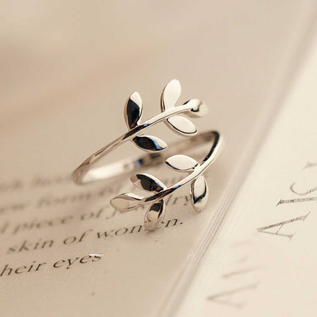 2019 New Women Zinc Alloy Nature Olive Tree Branch Leaf Leaves Open Women's Ring Adjustable Size For Party