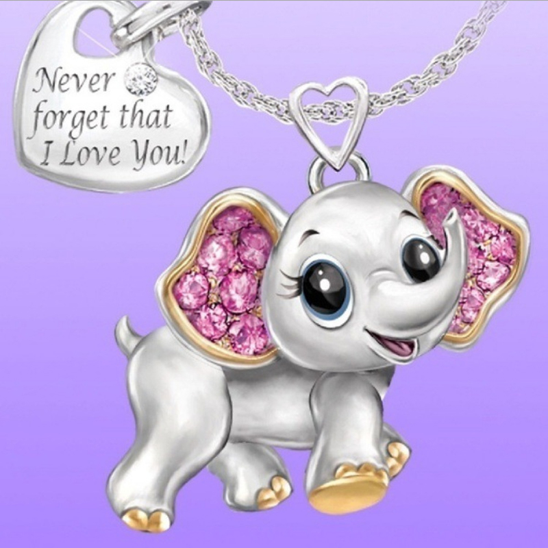 Yoziron-Cute-Elephant-Pendant-Necklace-Silver-Heart-Shape-Rhinestone-Lettering-Necklace-Never-Forget-That-I-Love (1)