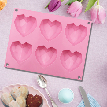 SILICONLOVE 3D Diamond Love Heart Shape Silicone Molds for Baking Sponge Chiffon Mousse Dessert Cake Molds Food Grade