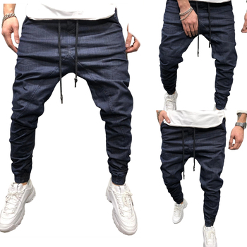 Men Solid Drawstring Pants Running Outdoor Casual Sports breathable running Cotton Jogger Elastic Waist  Mens Clothing