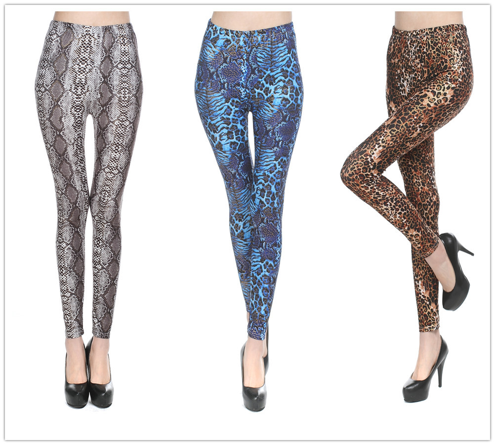 Plus Size Leopard Legging Women Polyester Spandex Tiger Printed Leggings Ankle-length High Waist Winter Leggings Leopard