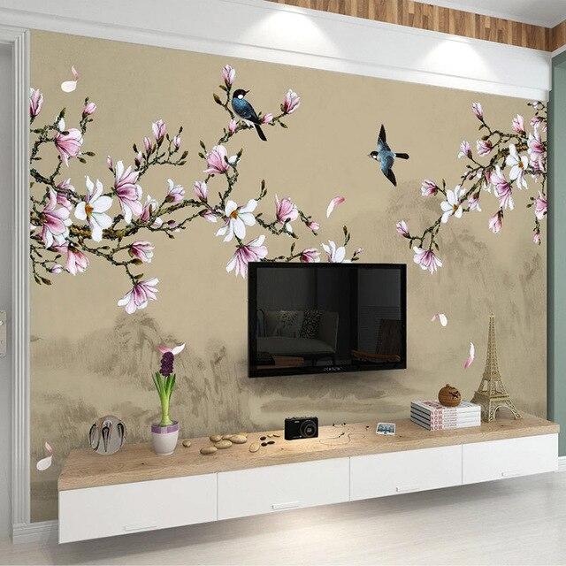 Papier peint Photo 3D personnalisé de Style chinois | Papier peint Magnolia fleurs et oiseaux peints à la main, grand tableau Mural pour chambre à coucher salon et arrière-plan de la télévision