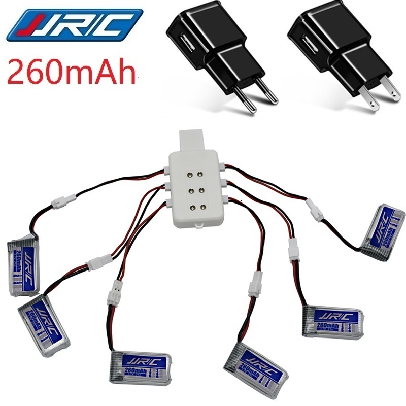 Original JJRC H36 3.7V 260mAh Battery For JJRC E010 E011 E012 E013 F36 3.7v Lipo Battery + 6P UBS Charger RC Quadcopter Parts