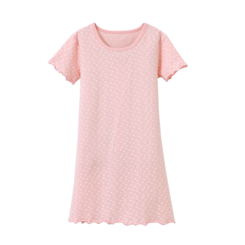 Class A GIRL'S Nightgown Pure Cotton Heart Lace Children Air Conditioning Clothes Years Old Baby Tracksuit Pajamas