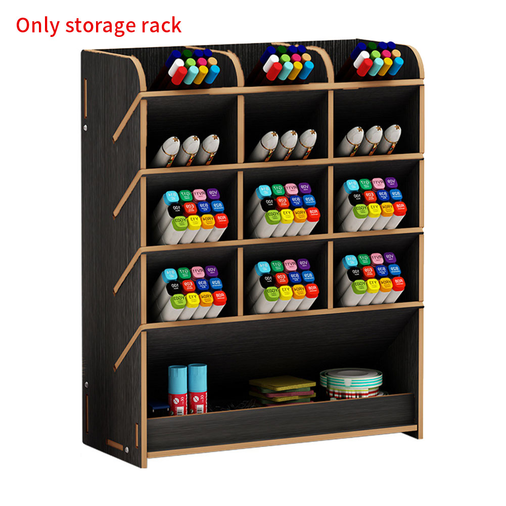 DIY Desk Organizer Stationery Storage Multifunction Large Capacity Home Separate Parts Pen Holder Wooden Rack With Drawer Study