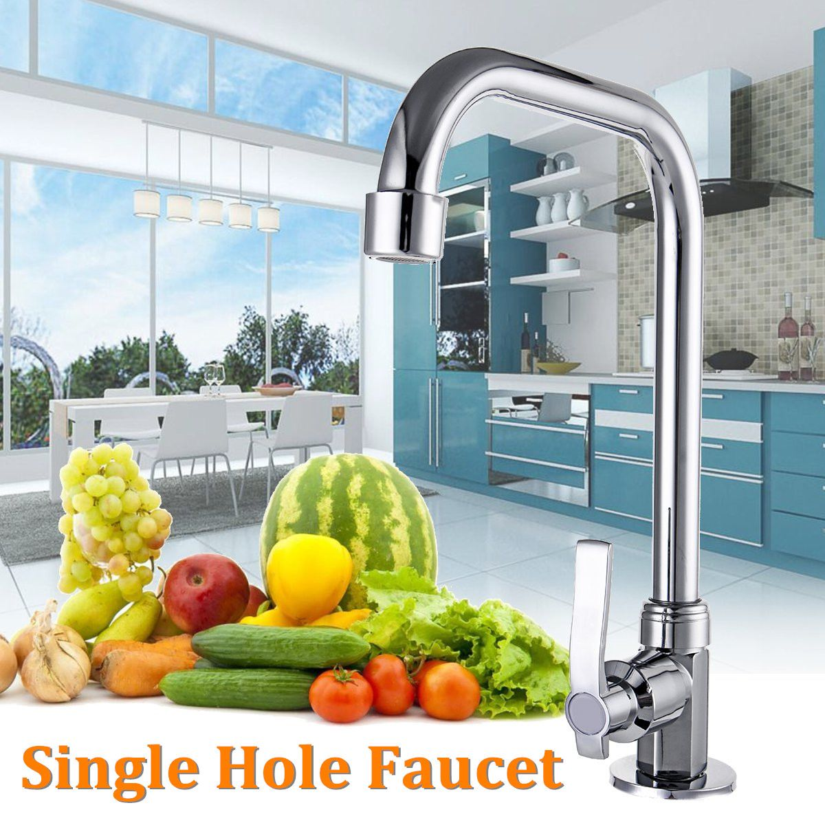 Kitchen Vertical Single Hole Faucet Stainless Steel Kitchen Wash Sink Basin Water Taps Mixer Rotating Basin Faucet Quick Opening