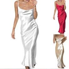 Verão feminino cetim vestido longo sexy sem mangas sem costas espaguete cinta de seda sereia vestidos feminino nightclub festa maxi vestido